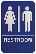 $9.95 Braille ADA Unisex RESTROOM Signs. Our signs are available in Blue or Black and come with white text &  graphics. Mounting bracket optional.