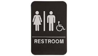$9.95 Braille ADA Unisex RESTROOM W/Wheelchair Signs. Our signs are available in Blue or Black and come with white text &  graphics. Mounting bracket optional.