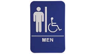 $9.95 Braille ADA MEN W/Wheelchair Signs. Our signs are available in Blue or Black and come with white text &  graphics. Mounting bracket optional.