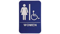 $9.95 Braille ADA WOMEN W/Wheelchair Signs. Our signs are available in Blue or Black and come with white text &  graphics. Mounting bracket optional.
