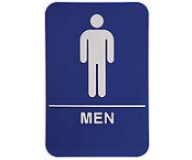 $9.95 Braille ADA MEN Signs. Our signs are available in Blue or Black and come with white text &  graphics. Mounting bracket optional.