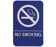 $9.95 Braille ADA NO SMOKING Signs. Our signs are available in Blue or Black and come with white text &  graphics. Mounting bracket optional.