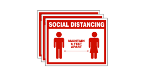 """SOCIAL DISTANCING - Maintain 6 Feet Apart"" Wall Sign, Social Distancing Awareness Signs, Plastic, 7"" x 10"" x .06 (Pack of 3)"